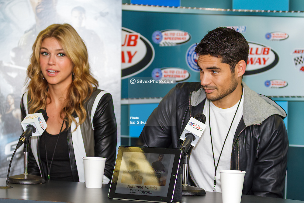 Fontana, CA/USA (Sunday, March 24, 2013) -  'G.I. Joe: Retaliation' Stars D.J. Cotrona and Adrianne Palicki during pre-race media conference at the Auto Club Speedway media center. They will serve as Grand Marshals for the Auto Club 400 at Auto Club Speedway. PHOTO © Eduardo E. Silva/SILVEX.PHOTOSHELTER.COM.