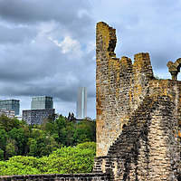 Bock Castle Ruins and Kirchberg Skyline in Luxembourg City, Luxembourg <br />