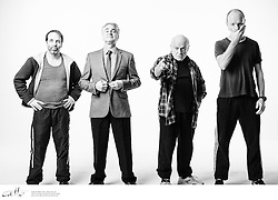 The cast members of Apocalypse Theatre's production of The Dapto Chaser, by Mary Rachel Brown, photographed on Thursday, 30 April, 2015. The show takes place at Griffin Theatre from 1 - 15 July, 2015.<br /> <br /> For the Sinclair family, the cut-throat world of greyhound racing is a religion. And their beloved dog Boy Named Sue is more than a greyhound; he's their heart and soul on four legs. With the crucial Winnebago Classic on the horizon, Cess Sinclair has one shot at reversing his family's fortunes for good. Against all the odds, he's betting on a miracle.<br /> <br /> The Dapto Chaser is warts-and-all Australian comedy that gets its hands dirty with the adrenaline, sweat and guts of the dog racing sub-culture. The Sinclairs are a family trapped in the pressure cooker of gambling addiction and when things don't go to plan, they are forced to gamble the most important commodity of all – their relationship to each other.<br /> <br /> Playwright Mary Rachel Brown wrote The Dapto Chaser perched in the bleachers track-side, while director Glynn Nicholas will be going on an all-schnitzel diet to get it over the line.