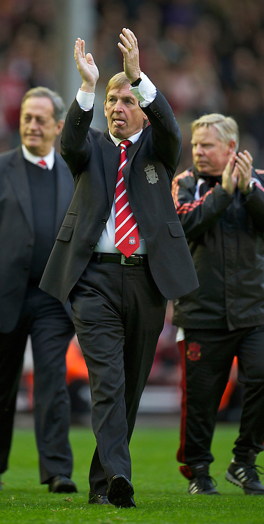 LIVERPOOL, ENGLAND - Sunday, May 15, 2011: Liverpool's manager Kenny Dalglish MBE waves to the supporters as the team walk a lap of honour after the final home game of the Premiership season against Tottenham Hotspur at Anfield. (Photo by David Rawcliffe/Propaganda)