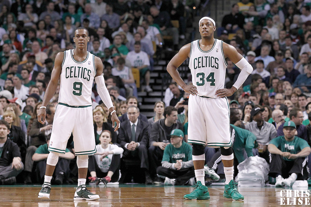 10 May 2012: Boston Celtics point guard Rajon Rondo (9) and Boston Celtics small forward Paul Pierce (34) are seen during the Boston Celtics 83-80 victory over the Atlanta Hawks, in Game 6 of the Eastern Conference first-round playoff series, at the TD Banknorth Garden, Boston, Massachusetts, USA.