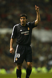 MANCHESTER, ENGLAND - Wednesday, April 23, 2003: Real Madrid's Luis Figo in action against Manchester United during the UEFA Champions League Quarter Final 2nd Leg match at Old Trafford. (Pic by David Rawcliffe/Propaganda)