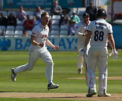 May 4, 2018 - Chelmsford, Greater London, United Kingdom - Essex's Simon Cook celebrates the catch of Yorkshire's Harry Brook by Essex's Simon Harmer.during Specsavers County Championship - Division One, day one match between Essex CCC and Yorkshire CCC at The Cloudfm County Ground, Chelmsford, England on 04 May 2018. (Credit Image: © Kieran Galvin/NurPhoto via ZUMA Press)