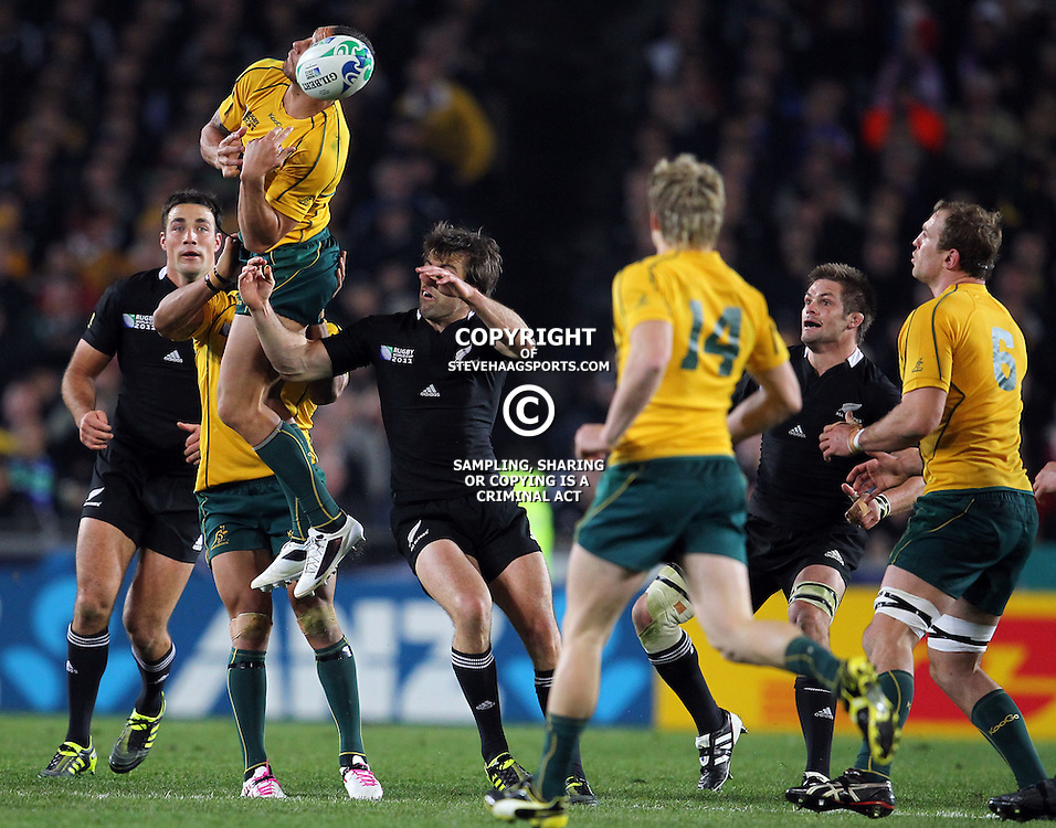 AUCKLAND, NEW ZEALAND - OCTOBER 16, Quade Cooper 1st to the high ball during the 2011 IRB Rugby World Cup Semi Final match between New Zealand and Australia at Eden Park on October 16, 2011 in Auckland, New Zealand<br /> Photo by Steve Haag / Gallo Images