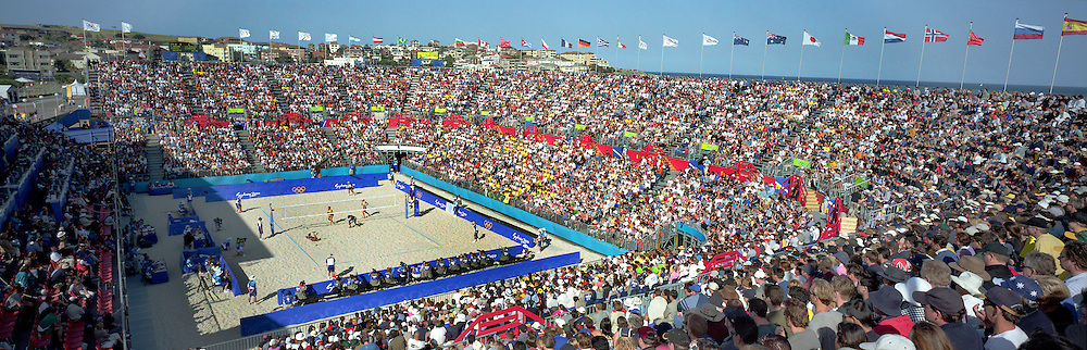 A panoramic image showing a general view of the Beach Volleyball Arena on Bondi Beach during the 2000 Sydney Olympic Games...Panoramic images from the Sydney Olympic Games, Sydney, Australia.  2000 . Photo Tim Clayton