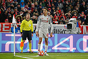 Liverpool defender Trent Alexander-Arnold (66) looks towards the crowd, bemused, as the referee Daniele Orsato (not in picture) signals for a throw-in, not a corner-kick, during the Champions League match between Bayern Munich and Liverpool at the Allianz Arena, Munich, Germany, on 13 March 2019.