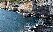Italian rocky seascape. Cinque Terre, Porto Venere, Liguria, Italy
