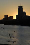 Boston, USA, Sunrise over Boston [Boston Boat House area / Magazine Beack] Head of the Charles, Race Charles River,  Cambridge,  Massachusetts. Sunday  21/10/2007  [Mandatory Credit Peter Spurrier/Intersport Images]..... , Rowing Course; Charles River. Boston. USA , Sunrise, Sunsets, Silhouettes