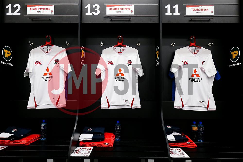General View in the England U20 dressing room - Rogan/JMP - 21/02/2020 - Franklin's Gardens - Northampton, England - England U20 v Ireland U20 - Under 20 Six Nations.
