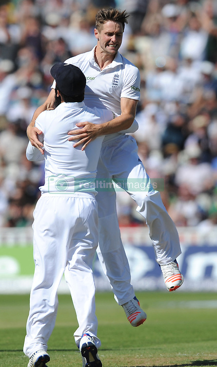 EnglandÕs Chris Woakes celebrates after bowling Pakistan's Sarfraz Ahmed caught by Joe Root during day five of the 3rd Investec Test Match at Edgbaston, Birmingham.