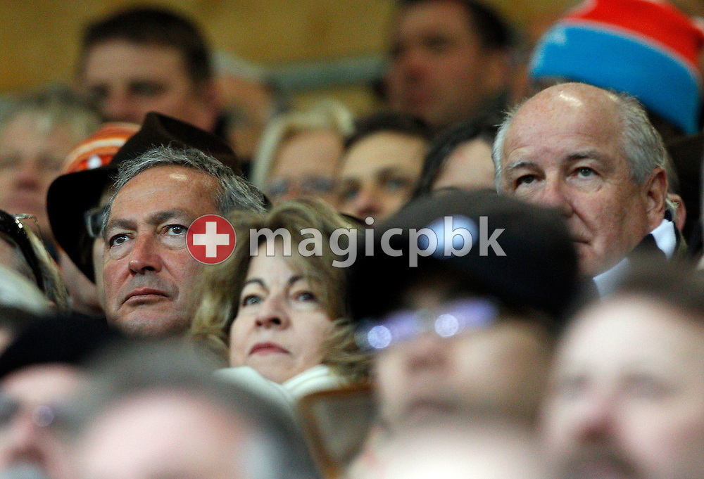 FC Luzern president Walter STIERLI (R) and Samih SAWIRIS (L) follow the AXPO Super League (National League A) soccer match between FC Luzern (FCL) and FC Basel (FCB) at the Gersag stadium in Emmenbruecke, Switzerland, Sunday, February 27, 2011. (Photo by Patrick B. Kraemer / MAGICPBK)