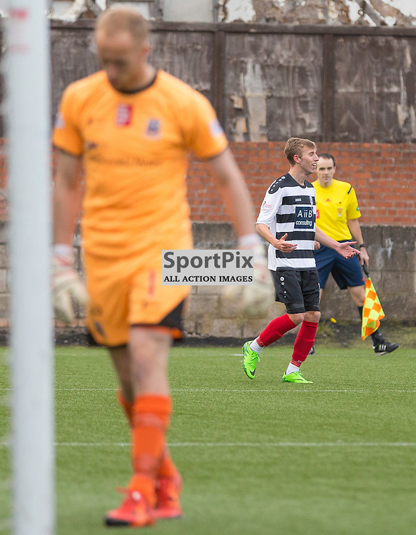 East Stirlingshire v Elgin City Scottish League 2 17 October 2015; the disconsolate&nbsp;figure of Elgin keeper, Mark Hurst, goes to pick the ball out the net whilst Ally Roy celebrates scoring a beauty during the East Stirlingshire v Elgin City Scottish League 2 match played at Ochilview Park, Falkirk <br /><br />&copy; Chris McCluskie | SportPix.org.uk
