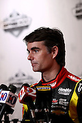 Feb 14, 2013; Daytona Beach, FL, USA; NASCAR Sprint Cup Series driver Jeff Gordon addresses the media during Daytona 500 media day at Daytona International Speedway. Mandatory Credit: Douglas Jones-DDJ Sports Imaging