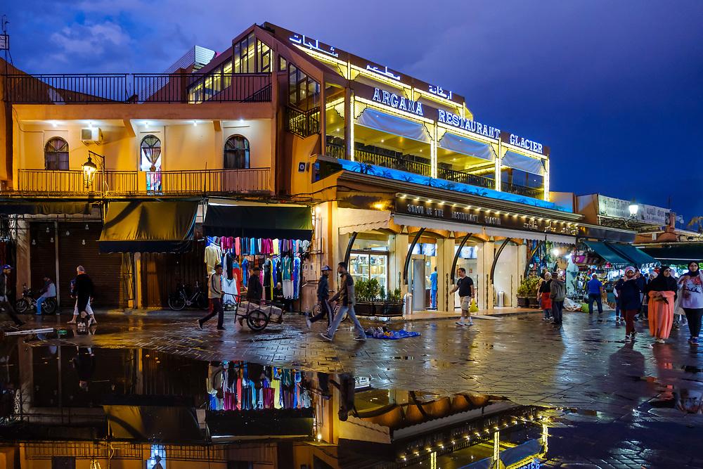 MARRAKESH, MOROCCO - CIRCA APRIL 2017: Restaurants overlooking the Jemaa el-Fnaa square in Marrakesh