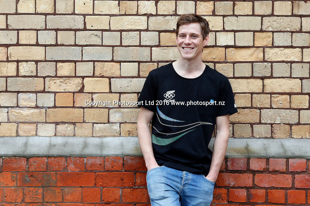 Paul Snow-Hansen, men's 470 sailors, New Zealand Yachting team pre-departure media session ahead of the Rio 2016 Olympic Games. Zhik shop, Victoria Park Markets, Auckland, 26 July 2016. Copyright Image: William Booth / www.photosport.nz