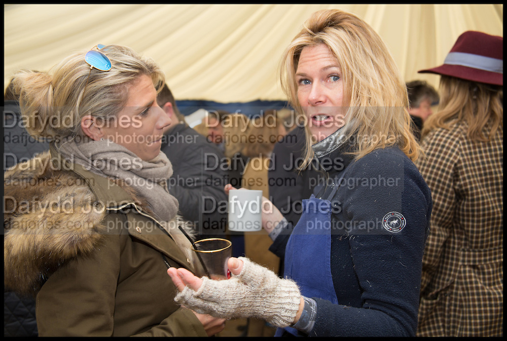LIZZIE SNOW; IRIS VAN GRUISEN, The Heythrop Hunt Point to Point. Cockle barrow. 25 January 2015