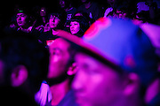 Tokyo, August 30 2012 - The audience watching Dengaryu, hip hop singer and actor in the movie Saudade by Katsuya Tomita, on stage in Shibuya.