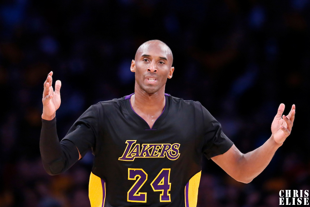 31 October 2014: Los Angeles Lakers guard Kobe Bryant (24) is seen during the Los Angeles Clippers 118-111 victory over the Los Angeles Lakers, at the Staples Center, Los Angeles, California, USA.