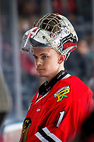 KELOWNA, BC - MARCH 03:  Shane Farkas #1 of the Portland Winterhawks stands at the bench against the Kelowna Rockets at Prospera Place on March 3, 2019 in Kelowna, Canada. (Photo by Marissa Baecker/Getty Images)