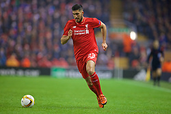 LIVERPOOL, ENGLAND - Thursday, November 26, 2015: Liverpool's Emre Can in action against FC Girondins de Bordeaux during the UEFA Europa League Group Stage Group B match at Anfield. (Pic by David Rawcliffe/Propaganda)