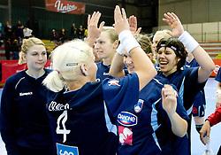 Maja Zrnec and Neli Irman celebrate after the Women European Championships Qualifying handball match between National Teams of Slovenia and Belarus, on October 17, 2009, in Kodeljevo, Ljubljana.  (Photo by Vid Ponikvar / Sportida)