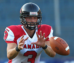 09.07.2011, UPC Arena, Graz, AUT, American Football WM 2011, Group B, France (FRA) vs Canada (CAN), im Bild Michael Faulds (Canada, #3, QB) waits for the Snap // during the American Football World Championship 2011 Group B game, France vs Canada, at UPC Arena, Graz, 2011-07-09, EXPA Pictures © 2011, PhotoCredit: EXPA/ T. Haumer