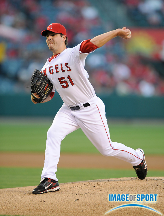 May 28, 2008; Anaheim, CA, USA;  Los Angeles Angels starter Joe Saunders (51) pitches during 6-2 loss to the Detroit Tigers at Angel Stadium. Mandatory Credit: Kirby Lee/Image of Sport-US PRESSWIRE