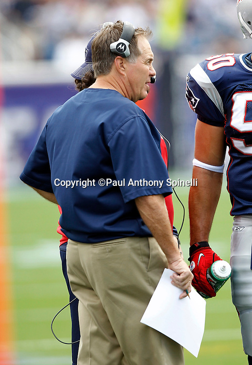 New England Patriots Head Coach Bill Belichick looks on during a break in the action during the NFL regular season week 3 football game against the Buffalo Bills on September 26, 2010 in Foxborough, Massachusetts. The Patriots won the game 38-30. (©Paul Anthony Spinelli)