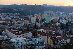 CZECH REPUBLIC BRNO 6JAN15 - View of sprawling Brno city during sunset. Brno is the second largest city in the Czech Republic by population and area and has about 400,000 inhabitants.<br /> <br /> <br /> <br /> <br /> jre/Photo by Jiri Rezac<br /> <br /> <br /> <br /> © Jiri Rezac 2015