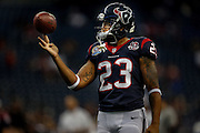 Dec 16, 2012; Houston, TX, USA; Houston Texans running back Arian Foster (23) warms up before the game against the Indianapolis Colts at Reliant Stadium. Mandatory Credit: Thomas Campbell-USA TODAY Sports