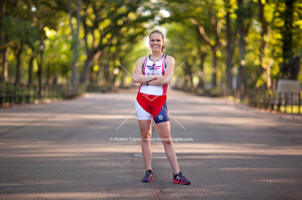 Caroline Gaynor helps blind athletes compete in triathlons. .. Photo by Robert Caplin