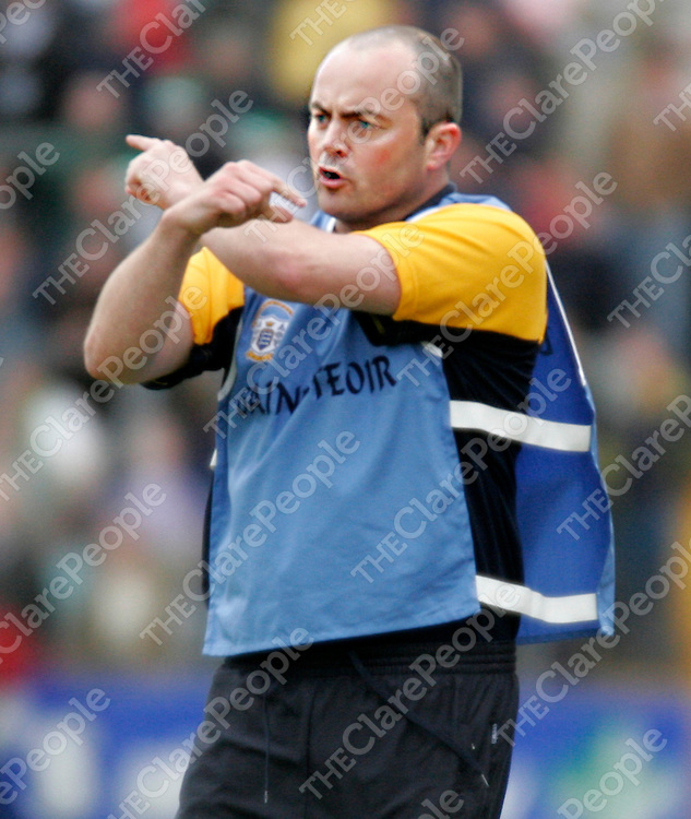 Clare manager Anthony Daly shouts his instructions from the side line during their championship clash against Limerick in Cusack Park on Sunday evening.<br />