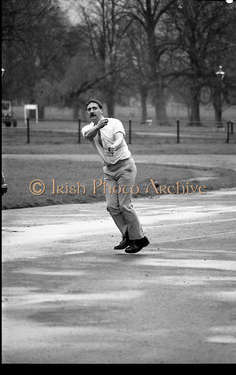 """First Dublin Road Bowling Tournament. (R99)..1989..03.04.1989..04.03.1989..3rd April 1989..The first Dublin road bowling tournament, sponsored by AIB and run by Bol Chumann Na hÉireann, in aid of Cerebral Palsy Ireland. It will take place in the Phoenix Park on Sunday 14th May 1989. This was announced at a reception in the Phoenix Park..The rout of the tournament will be from Mountjoy Crossing through The Whitefields Road to the Phoenix Monument and back the Straight Road to the finishing line at mountjoy Crossing, a distance of two miles..Armagh and Cork will challenge each other for a new Perpetual Trophy """"Super Bol""""...Image shows World Champion bowler,Bill Daly, Cork, demonstrating the skills which made him World Champion."""