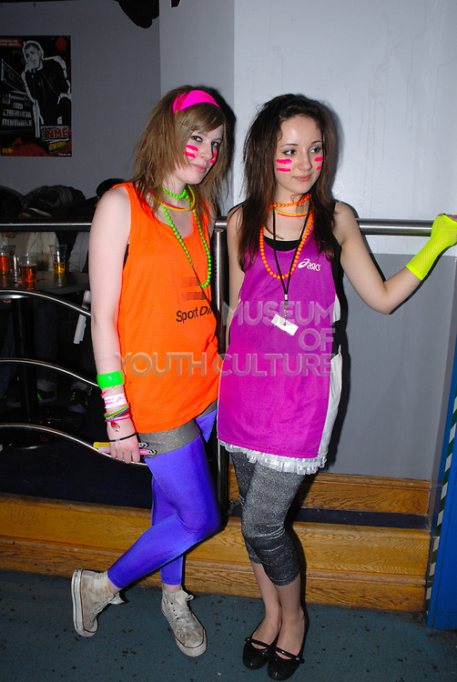 New rave girls with glowsticks and day-glo bangles, Klaxons gig, February 2007
