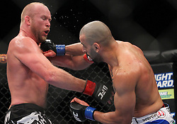 Las Vegas, NV - December 29, 2012: Tim Boetsch (Black/Red trunks) and Constantinos Philippou (blue/white trunks) during their main card bout at UFC 155 at MGM Grand Garden Arena in Las Vegas, Nevada.