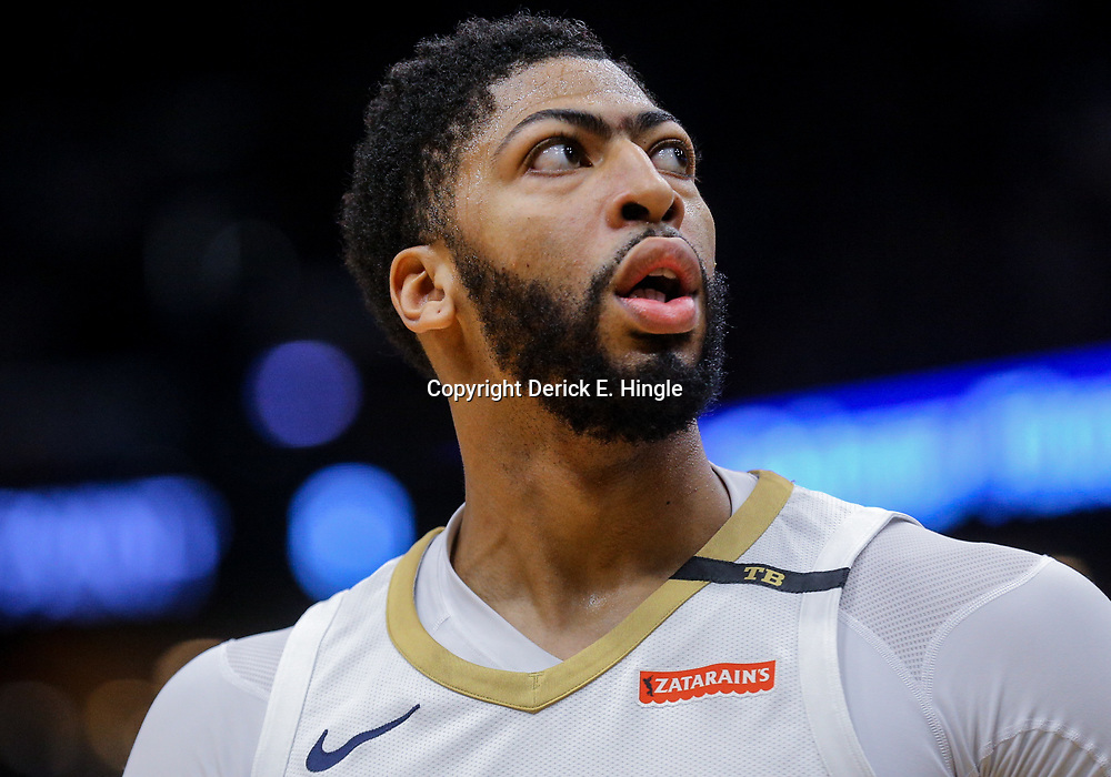 Mar 18, 2018; New Orleans, LA, USA; New Orleans Pelicans forward Anthony Davis seen with a patch on his shoulder in memory of owner Tom Benson during the first quarter against the Boston Celtics at the Smoothie King Center. Mandatory Credit: Derick E. Hingle-USA TODAY Sports