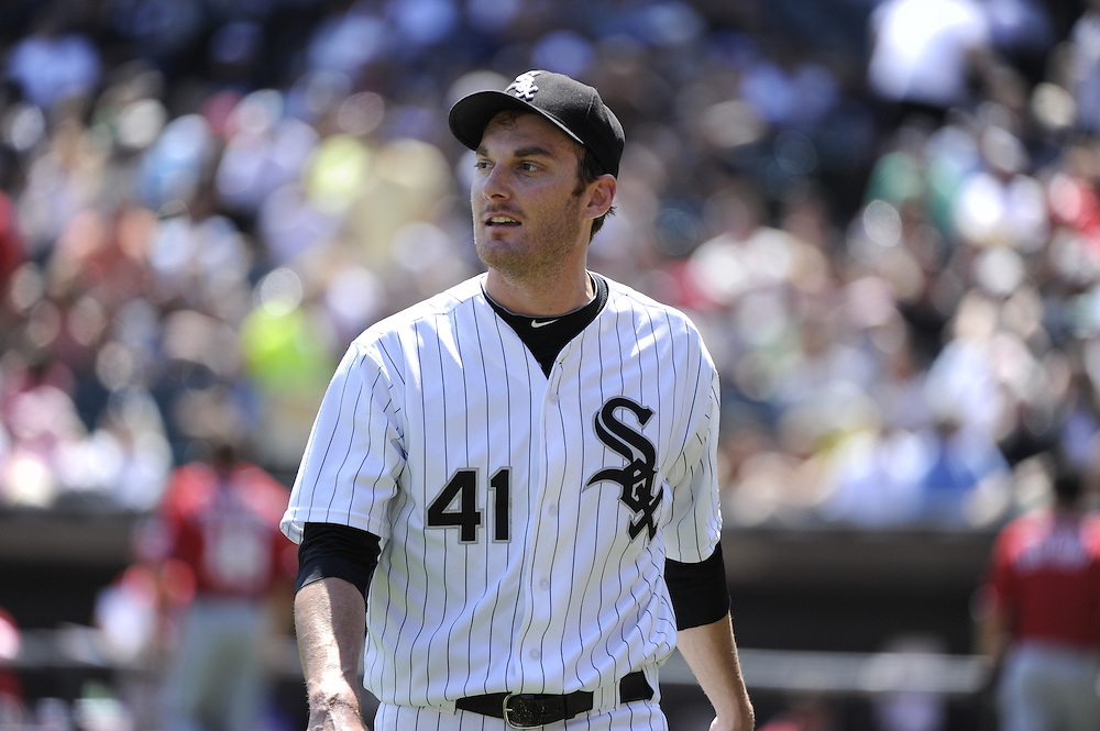 CHICAGO, IL - JUNE 26:  Phil Humber #41 of the Chicago White Sox looks on against the Washington Nationals on June 26, 2011 at U.S. Cellular Field in Chicago, Illinois.  The Nationals defeated the White Sox 2-1.  (Photo by Ron Vesely/MLB Photos via Getty Images)  *** Local Caption *** Philip Humber.