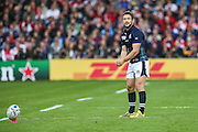 Scotland's captain Greig Laidlaw prepares to take a conversion during the Rugby World Cup Pool B match between Scotland and Japan at the Kingsholm Stadium, Gloucester, United Kingdom on 23 September 2015. Photo by Shane Healey.