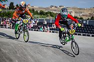 #151 during practice at the 2018 UCI BMX World Championships in Baku, Azerbaijan.