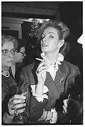 COUNTESS GRIAZNOFF, Reception in aid of russian Refugees. Sothebys. 13 February 1984.<br /> <br /> SUPPLIED FOR ONE-TIME USE ONLY> DO NOT ARCHIVE. © Copyright Photograph by Dafydd Jones 248 Clapham Rd.  London SW90PZ Tel 020 7820 0771 www.dafjones.com