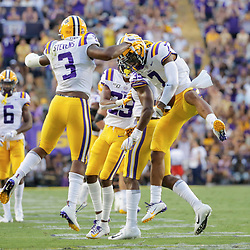 Aug 31, 2019; Baton Rouge, LA, USA; LSU Tigers safety Grant Delpit (7) celebrates with safety JaCoby Stevens (3) during the second quarter against the Georgia Southern Eagles at Tiger Stadium. Mandatory Credit: Derick E. Hingle-USA TODAY Sports
