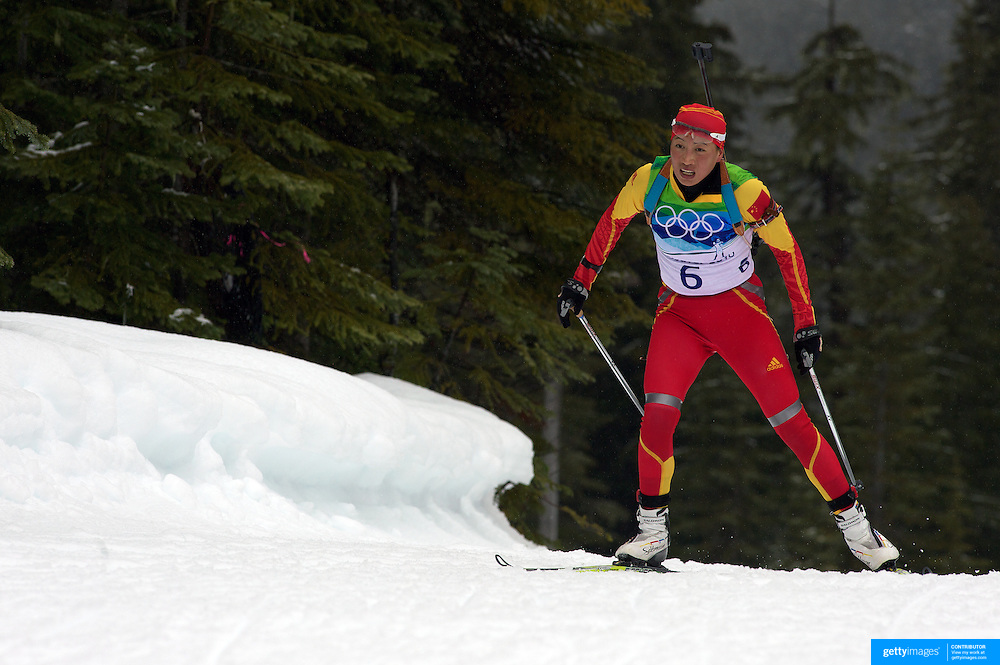 Winter Olympics, Vancouver, 2010. Yingchao Kong, China, in action during the Women's 7.5 KM Sprint Biathlon at The Whistler Olympic Park, Whistler, during the Vancouver  Winter Olympics. 13th February 2010. Photo Tim Clayton