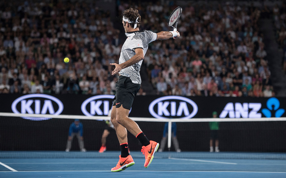 Roger Federer of Switzerland during the men's final on day fourteen of the 2017 Australian Open at Melbourne Park on January 29, 2017 in Melbourne, Australia.<br /> (Ben Solomon/Tennis Australia)