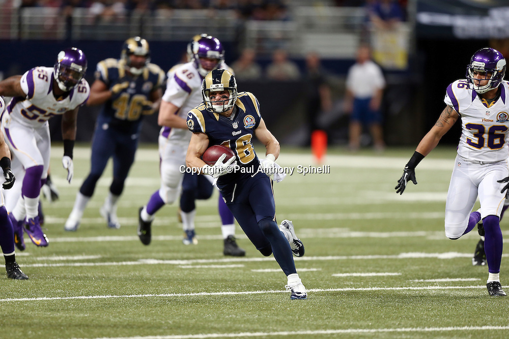 St. Louis Rams punt returner Danny Amendola (16) returns a punt during the NFL week 15 football game against the Minnesota Vikings on Sunday, Dec. 16, 2012 in St. Louis. The Vikings won the game 36-22. ©Paul Anthony Spinelli