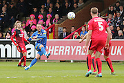 Rhys Murphy forward for AFC Wimbledon (39) tries an effort on goal during the Sky Bet League 2 match between AFC Wimbledon and Crawley Town at the Cherry Red Records Stadium, Kingston, England on 16 April 2016. Photo by Stuart Butcher.