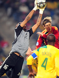 Itumeleng Khune save a goal  during the soccer match of the 2009 Confederations Cup between Spain and South Africa played at the Freestate Stadium,Bloemfontein,South Africa on 20 June 2009.  Photo: Gerhard Steenkamp/Superimage Media.