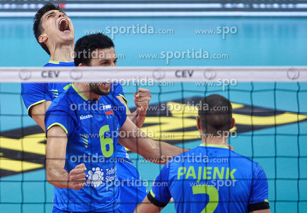 Klemen Cebulj #18, Mitja Gasparini #6, Alen Pajenk #2 during volleyball match between National teams of Poland and Slovenia in Quarterfinals of 2015 CEV Volleyball European Championship - Men, on October 14, 2015 in Arena Armeec, Sofia, Bulgaria. Photo by Ronald Hoogendoorn / Sportida