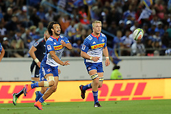 Dillyn Leyds of the DHL Stormers releases the ball during the Super Rugby match between the DHL Stormers and the Vodacom Blue Bulls at Newlands Stadium in Cape Town on the 25th February 2017