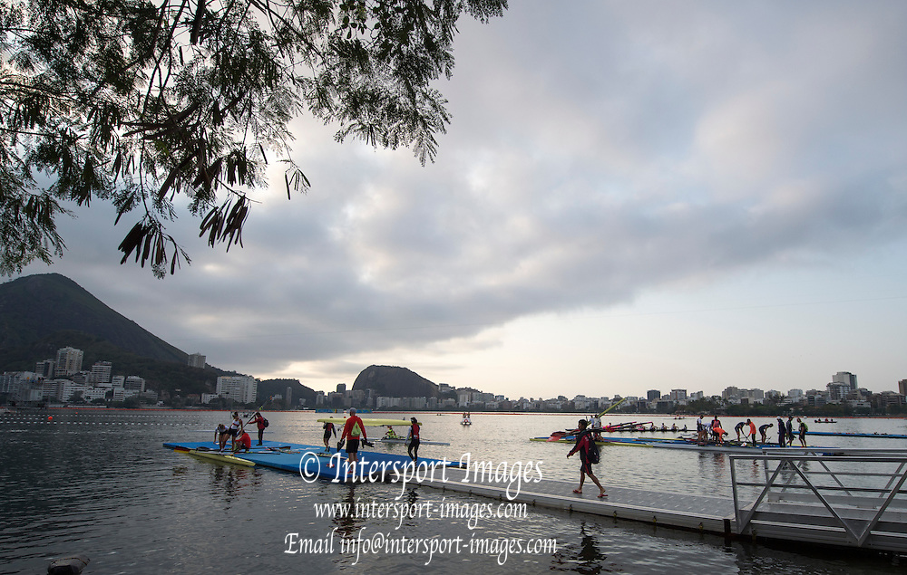 Rio de Janeiro. BRAZIL.   General view overlooking the boating area. 2016 Olympic Rowing Regatta. Lagoa Stadium,<br /> Copacabana,  &ldquo;Olympic Summer Games&rdquo;<br /> Rodrigo de Freitas Lagoon, Lagoa.   Tuesday  09/08/2016 <br /> <br /> [Mandatory Credit; Peter SPURRIER/Intersport Images]