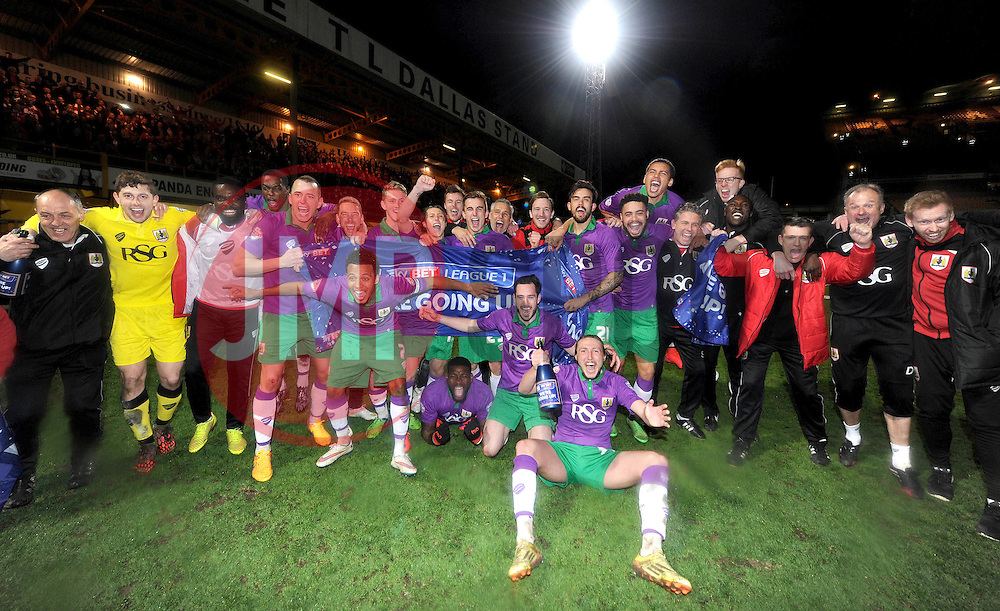 Bristol City celebrate after beating Bradford City 0-6 to secure promotion to the Football League Championship - Photo mandatory by-line: Dougie Allward/JMP - Mobile: 07966 386802 - 14/04/2015 - SPORT - Football - Bradford - Valley Parade - Bradford City v Bristol City - Sky Bet League One